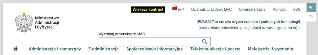 Informacja o cookie na stronie Ministerstwa Administracji i Cyfryzacji