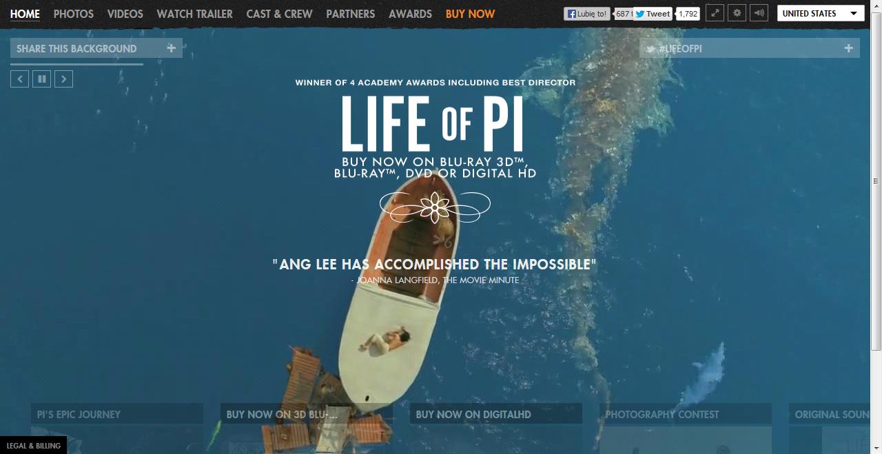 Strona filmu Życie Pi