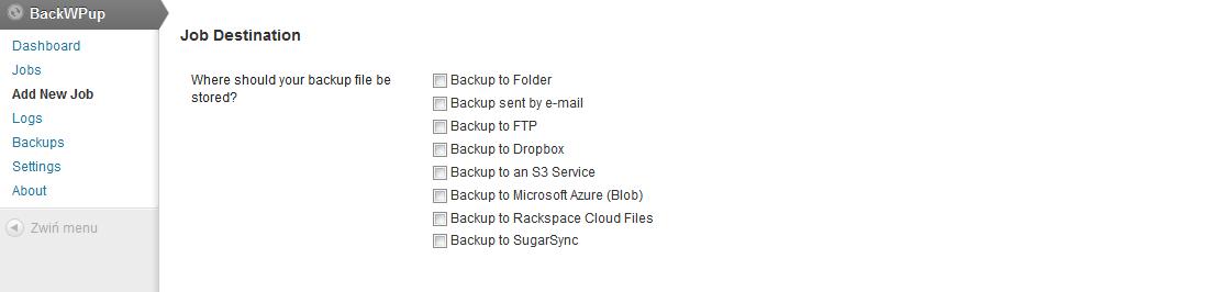 Miejsce zapisu plików - wtyczka BackWpUp