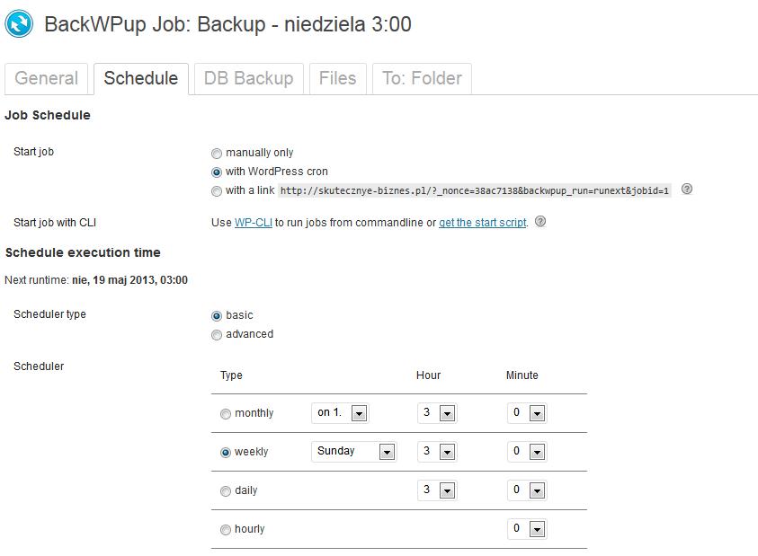 Ustawienia harmonogramu - wtyczka BackWpUp