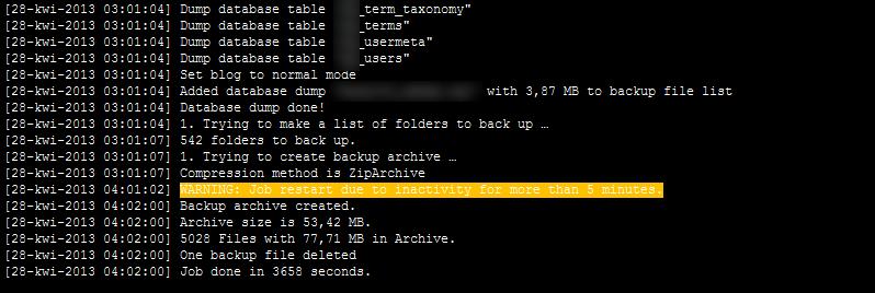 Ostrzeżenie w logach kopii. Wtyczka BackWpUp