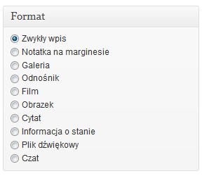 Wybór formatu wpisu