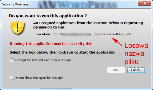Próba uruchomienia aplikacji Java