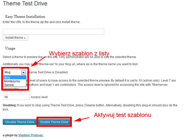 Ustawienie wtyczki Theme Test Drive