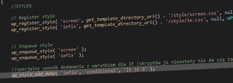 Warunkowe style CSS i JavaScript dla Internet Explorera w WordPressie