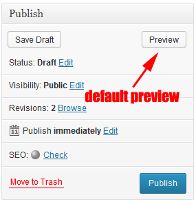 WordPress default post preview