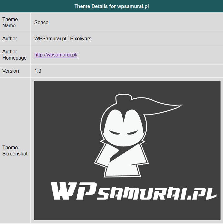Informacje o szablonie wpsamurai.pl