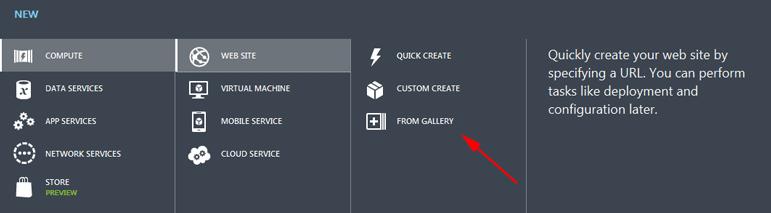 Tworzenie nowej strony Windows Azure - dostępne opcje