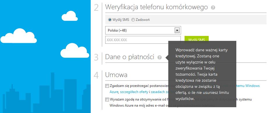 Fragment formularza rejestracji Microsoft Azure