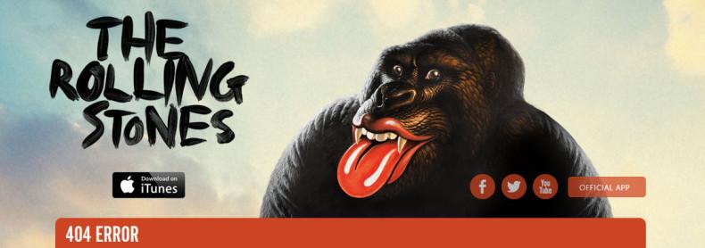 Rewelacyjny przykład strony 404 (The Rolling Stones)