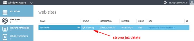 Działający WordPress w chmurze Windows Azure