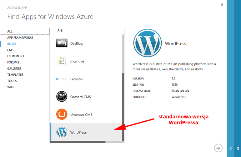 Windows Azure WordPress standardowa wersja