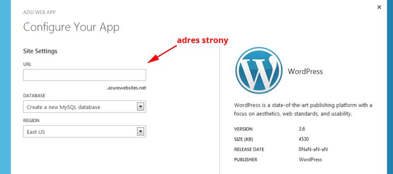 Zakładamy aplikację WordPress w Windows Azure