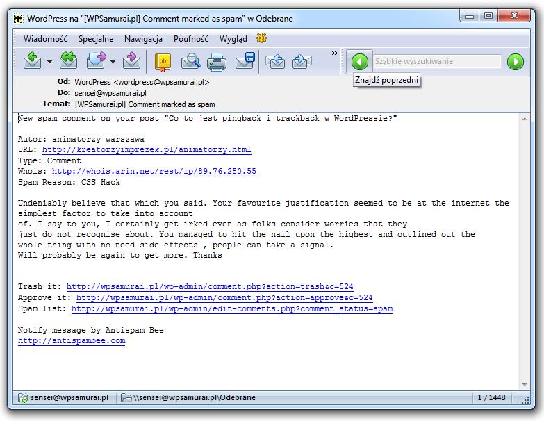 Email z informacją o spamie
